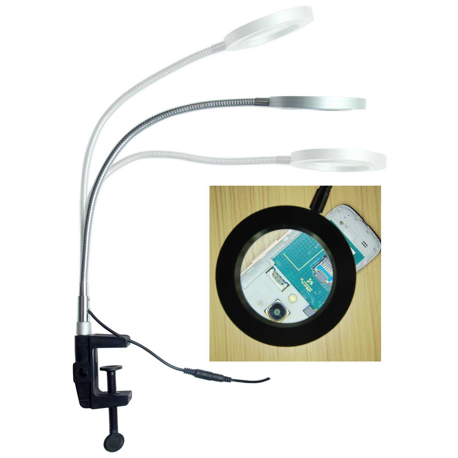 Tabletop Magnifying Glass with Adjustable Gooseneck Arm and LED Light