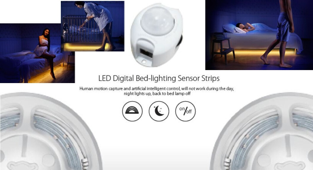 GCM Motion Activated Bed Light | Flexible Under Bed LED Strip Night Light with Automatic Motion Activated PIR Sensor and Fully Adjustable Timer
